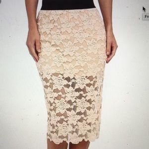 Free People NWOT blush pink pencil skirt. Sz Small